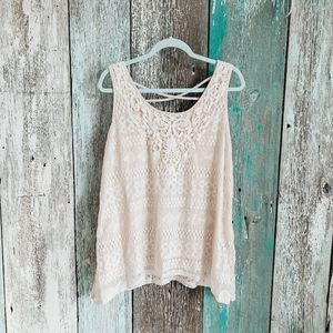French Laundry Crochet Lace Tank Top Cream Large